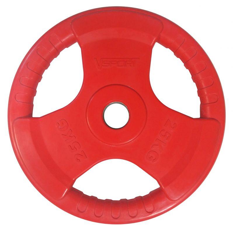 Диск для грифа V-Sport LC-25 олимпийский 25 кг обрезин. цветной с ручкой диск для грифа v sport lb 5 олимпийский 5 кг обрезин чёрный