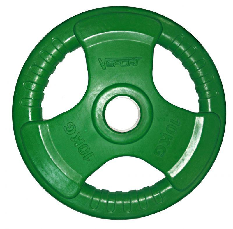 Диск для грифа V-Sport LC-10 олимпийский 10 кг обрезин. цветной с ручкой диск для грифа v sport lb 5 олимпийский 5 кг обрезин чёрный
