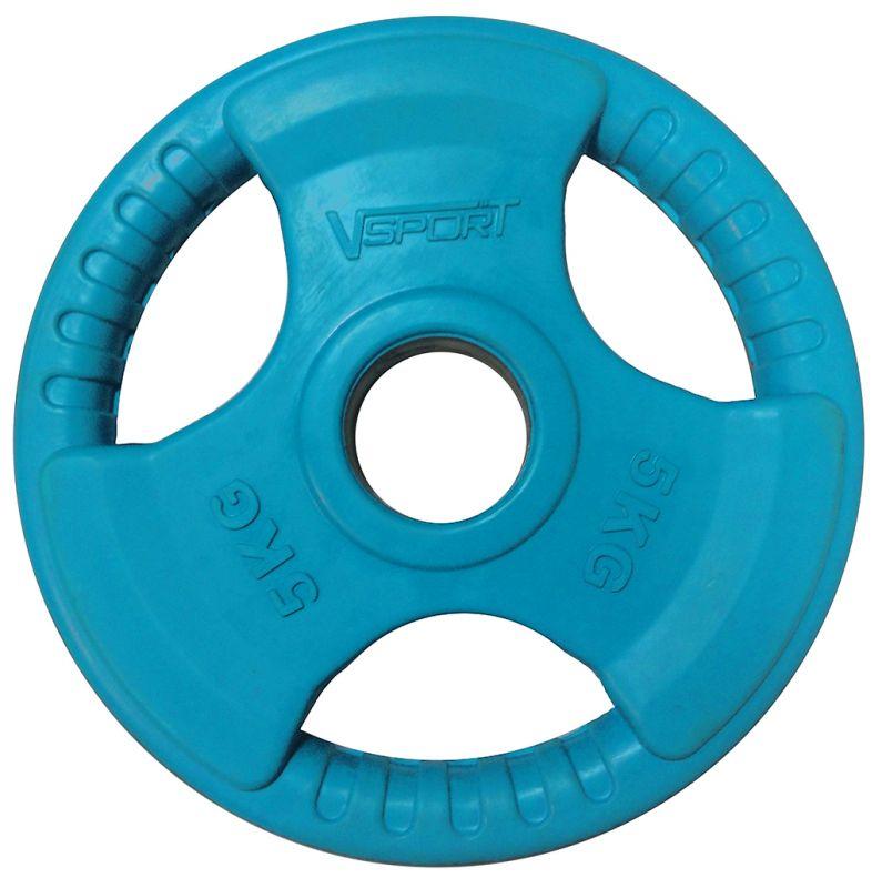 Диск для грифа V-Sport LC-5 олимпийский 5 кг обрезин. цветной с ручкой диск для грифа v sport lb 5 олимпийский 5 кг обрезин чёрный