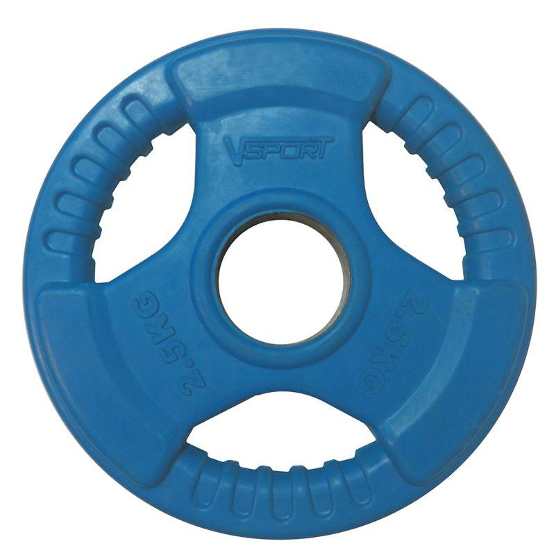 Диск для грифа V-Sport LC-2.5 олимпийский 2,5 кг обрезин. цветной с ручкой диск для грифа v sport lb 5 олимпийский 5 кг обрезин чёрный