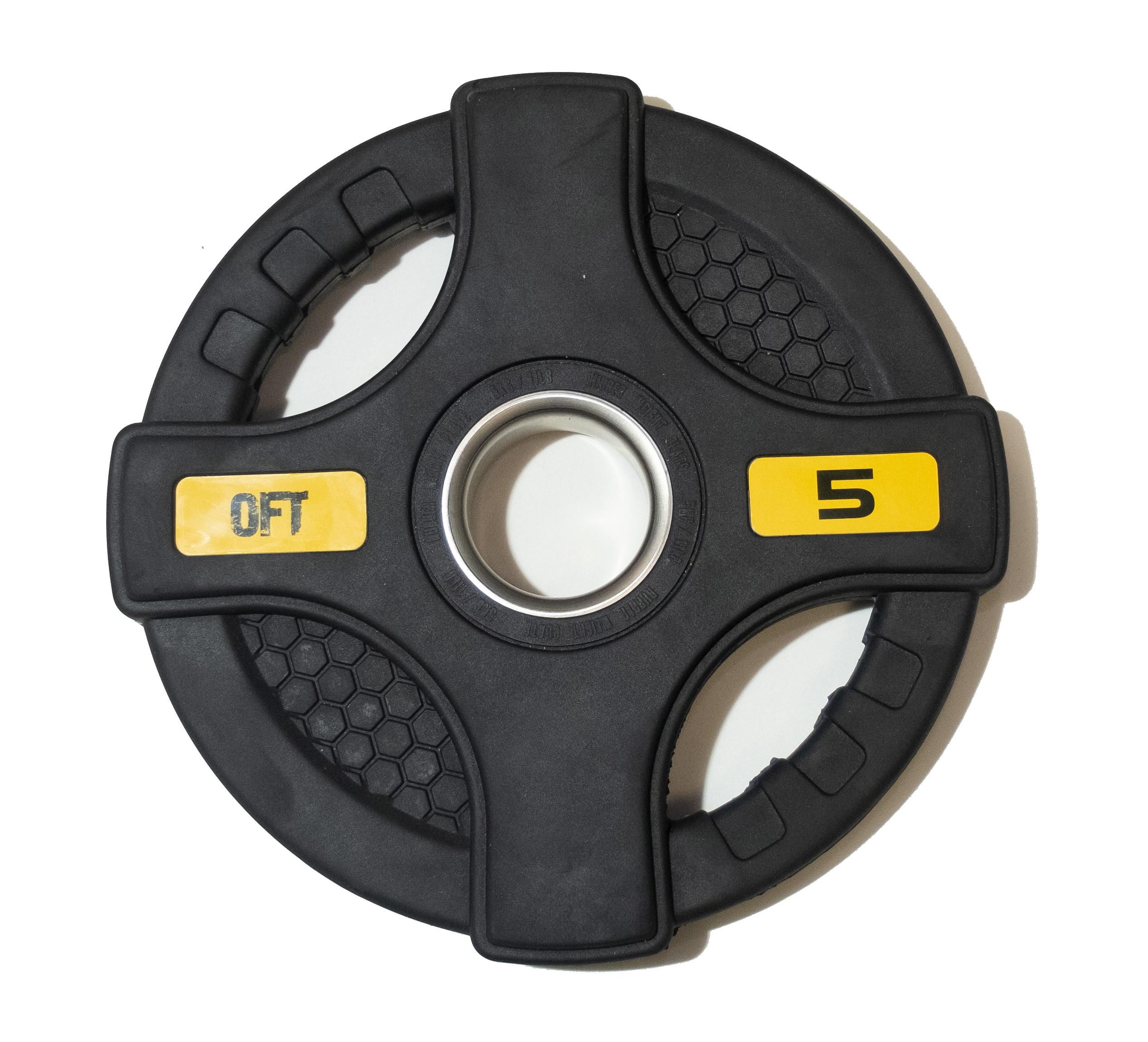 Диск для грифа ORIGINAL FIT.TOOLS олимпийский обрезиненный черный с двумя хватами FT-2HGP-5 кг диск для грифа v sport lb 5 олимпийский 5 кг обрезин чёрный